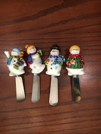 Christmas Snowman Spreaders butter cheese knives