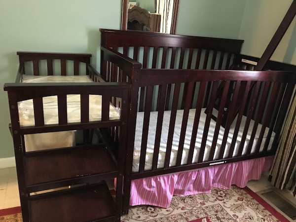 Cherry crib, mattress, and changing table