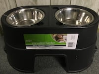 "12"" Raised / elevated feeder with two stainless steel dog bowls"