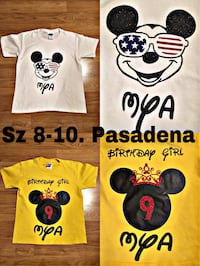 Two white and yellow mickey mouse shirts