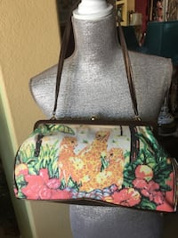 brown and green floral leather crossbody bag La Quinta, 92253