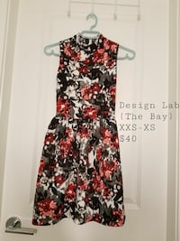 black and red floral sleeveless mini dress