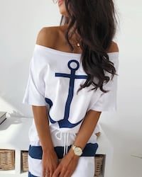BRAND NEW OFF SHOULDER BOAT ANCHOR WHITE SHIRT - CHANDAIL BLANC ANCRE BATEAU SIZE SMALL