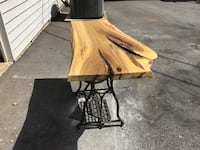 Live Edge Table w/ Antique Sewing Machine Bottom