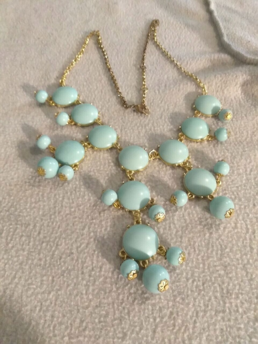 Photo Vintage Baby Blue Sweater length Bib necklace