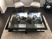 Black wooden framed glass top table /Crate and Barrel Dumfries, 22026