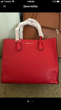 red Michael Kors leather tote bag New Carrollton, 20784