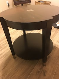 round black wooden 2-tier side table