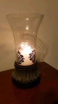 clear damask glass candle holder
