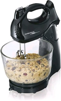 Hand/Stand Mixer with Glass Bowl, Black