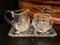 Clear cut glass punch bowl set Vancouver, V5R 4H1