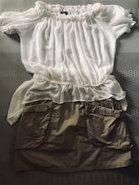 Blouse/ white $15. khaki skirt $10