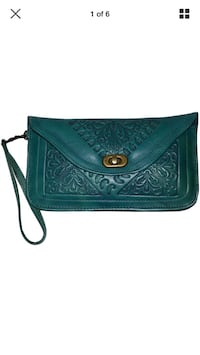 Leather Handbag Pouch Purse Moroccan Women Makeup Clutch wristlet Wallet Teal. New York, 11220