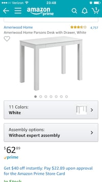 White wooden desk with drawer screenshot