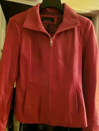 Jones of New York Soft Red Leather Fitted Jacket