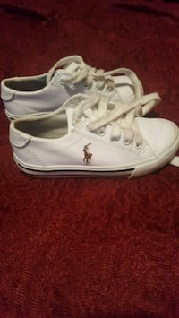 pair of white Ralph Lauren lace-up low-top sneaker