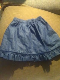 Little girls denim skirt w/navy blue sequins