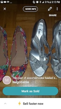 two pairs of gray and red floral heeled sandals screenshot