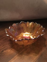 Scalloped edge brown glass bowl vintage