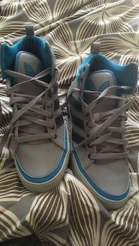 Pair of gray-and-blue Adidas sneakers never been Worn. Sizes 11 in men Novato, 94949