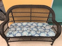 Patio furniture- Pier one love seat and papasan with reversible cushions. I will sell separately if needed.