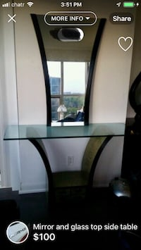 Black wooden frame glass top table Toronto