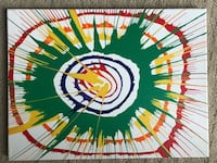 Green, red, and white abstract painting Austin, 78746
