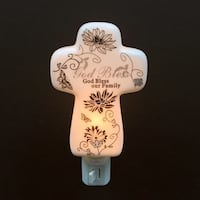 """""""God Bless Our Family """" Exquisitely Designed Cross Lampshade Night Light with Gift Box Brampton, L7A 3M2"""