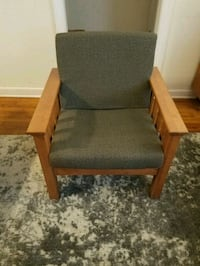 brown wooden framed gray padded armchair Columbus