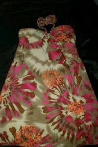 white and pink floral spaghetti strap dress Rector, 72461