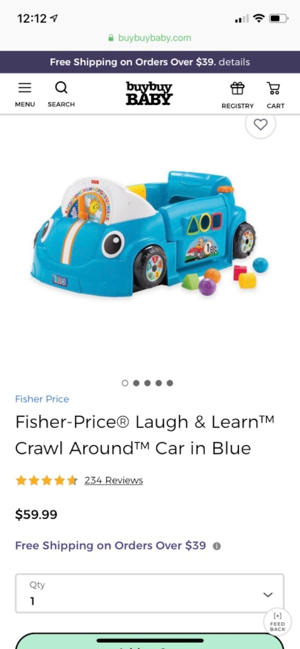 0a4fb6fce Fisher price blue laugh and learn crawl around car usado en venta en ...