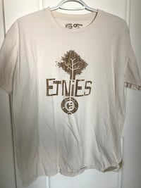 Etnies white and brown crew-neck t-shirt