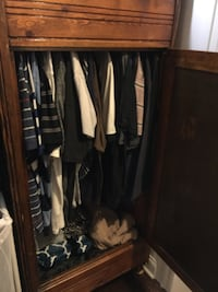 Brown wooden cabinet with shelves and clothes rack