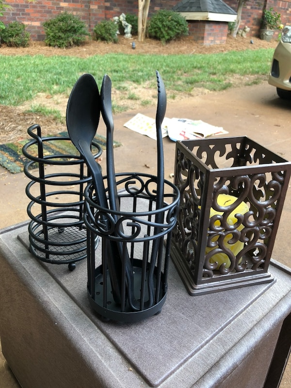 Three utensils or candle holder $10 for the brown and $8 each for the black