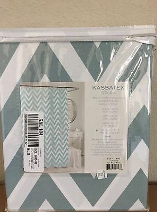 "New! Kassatex Spa Blue Chevron Fabric Shower Curtain. Paid $42.00. Size 72"" x 72. Purchased it from Macy's. Was going to use it for staging a property. I no longer need it. I don't have the original packaging. It's in excellent condition! 59590e5c-b4d2-4f29-9c21-3eff2208bf5c"