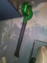 green and black leaf blower