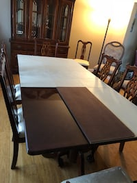 Rectangular brown wooden table with four chairs dining set Islip, 11751