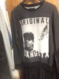 gray and white Gangsta graphic sweater