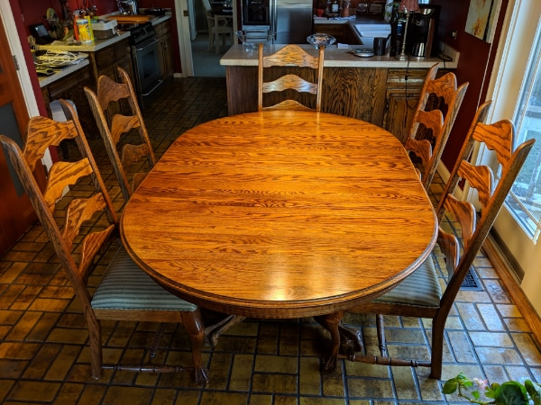 6 Pc Bear Claw Oak Dining Room Set Incl Table Wit