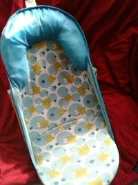 blue, green, and white frog printed Summer bather
