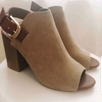 Olive green and brown heels size 7 - new