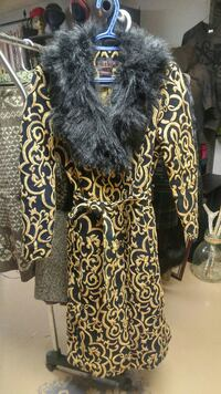women's black and brown fur trench coat
