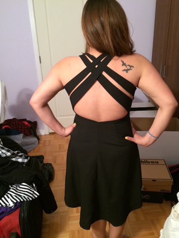 Black high low dress with cross back