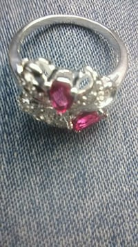 silver-colored and pink gemstone ring Russellville, 72802