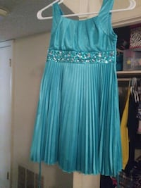 women's teal with silver accent sleeveless midi dr