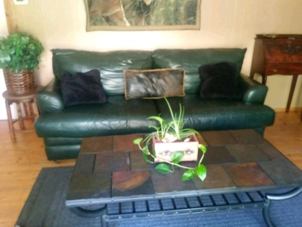 Dark green Real Leather couch