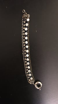 silver and diamond link bracelet