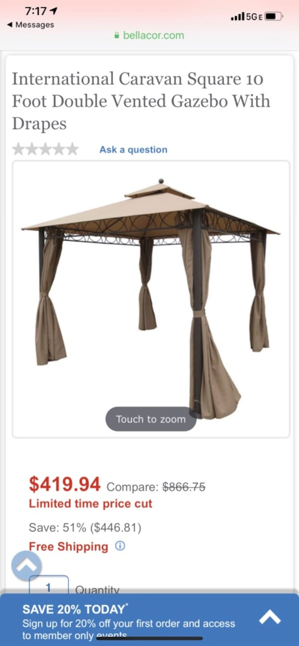Retail $866 New Gazebo double vented with drapes 10 foot square 0