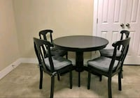round black wooden table with four chairs Price, 84501