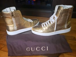 GUCCI GOLD & WHITE HIGH TOP SNEAKERS